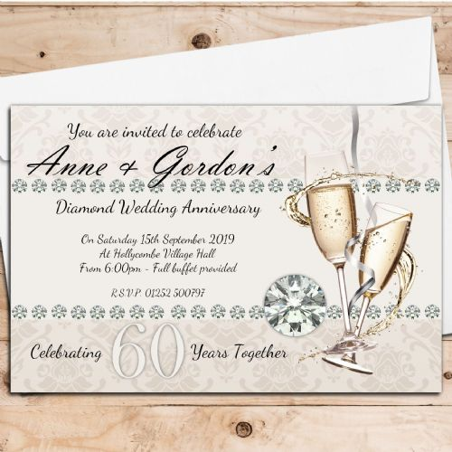 10 Personalised 60th Diamond Wedding Anniversary Invitations N18